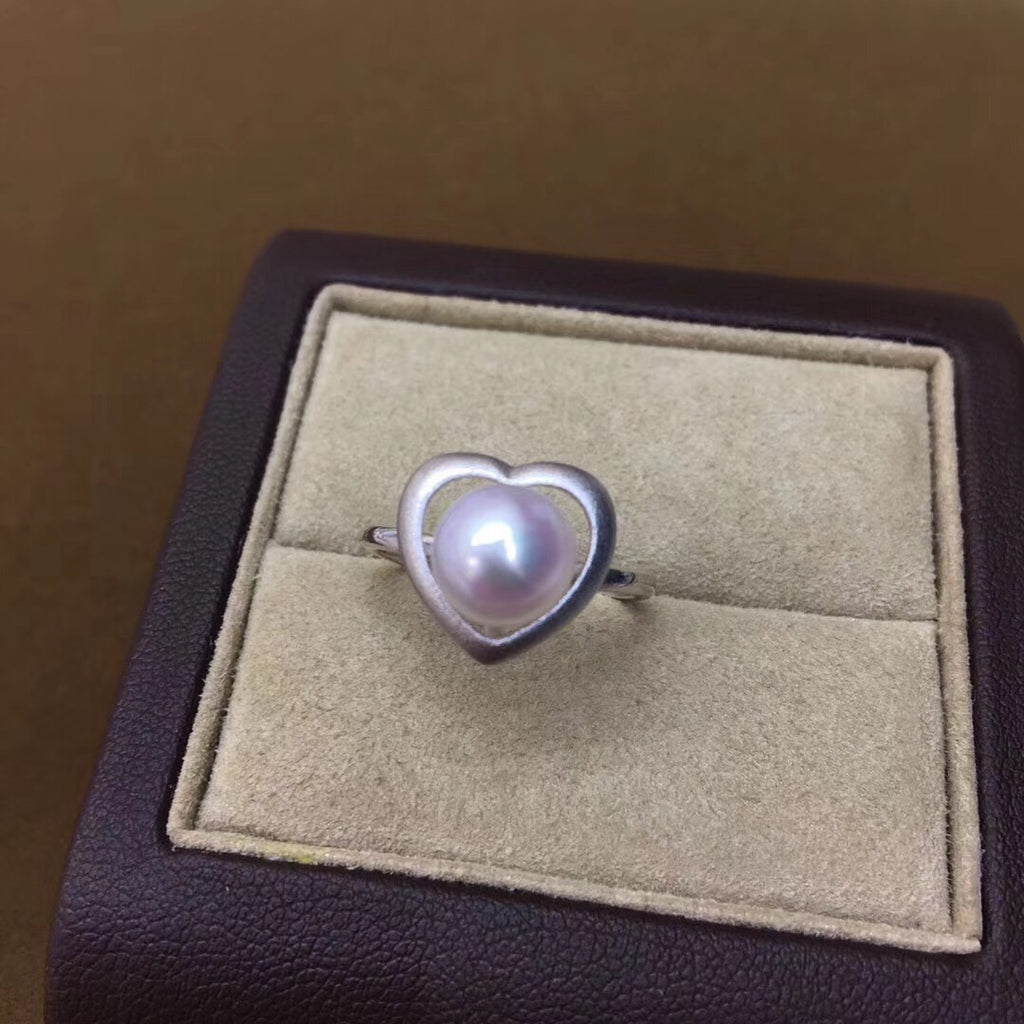 18k white gold akoya 7.5-8mm pearl ring - Xingjewelry
