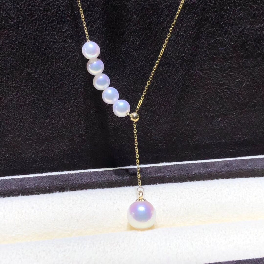 18k gold akoya white pearl pendant necklace - Xingjewelry