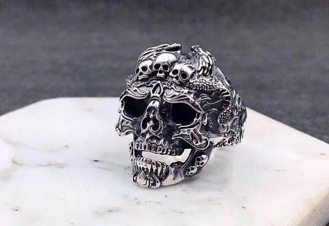 ROCKING ROLL SKULL HEAD SILVER RING