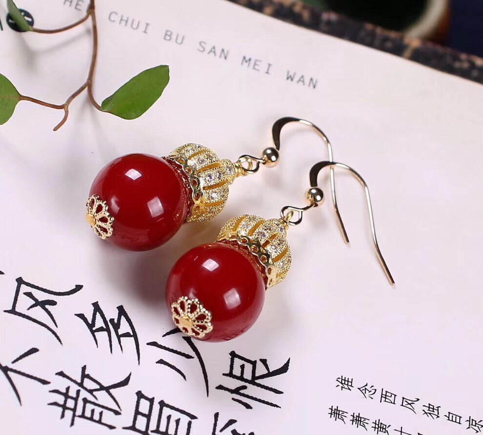 925 sterling silver red coral earring - Xingjewelry