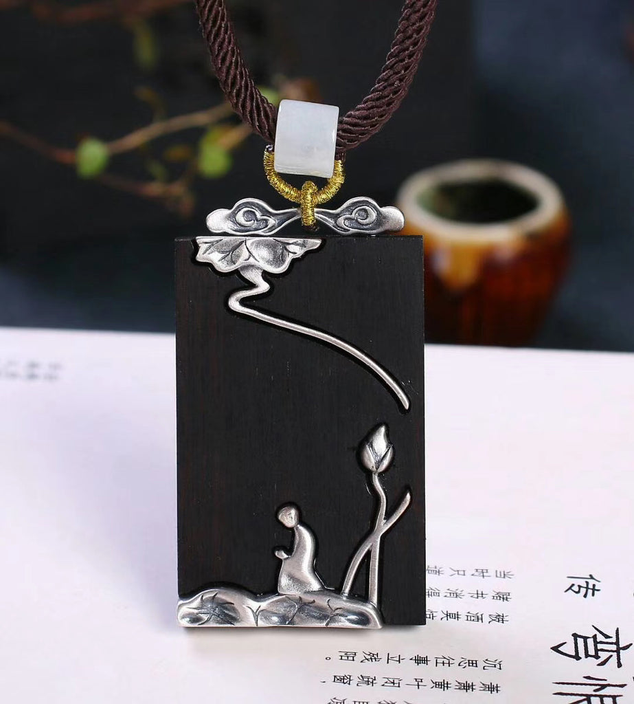 traditional Chinese red sandalwood zen art pendant necklace