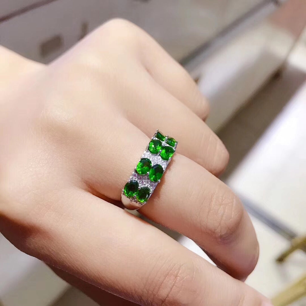 Sterling silver emerald stone ring