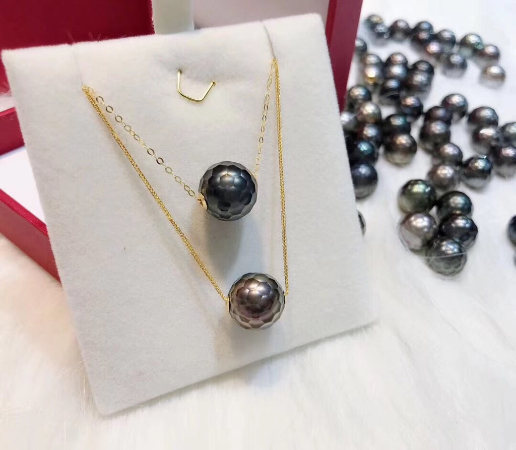 18k gold black pearl necklace - Xingjewelry