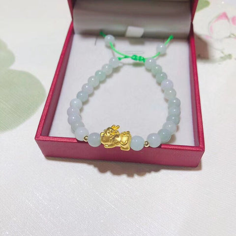 Blue jade wild animal solid gold charm bead bracelet - Xingjewelry