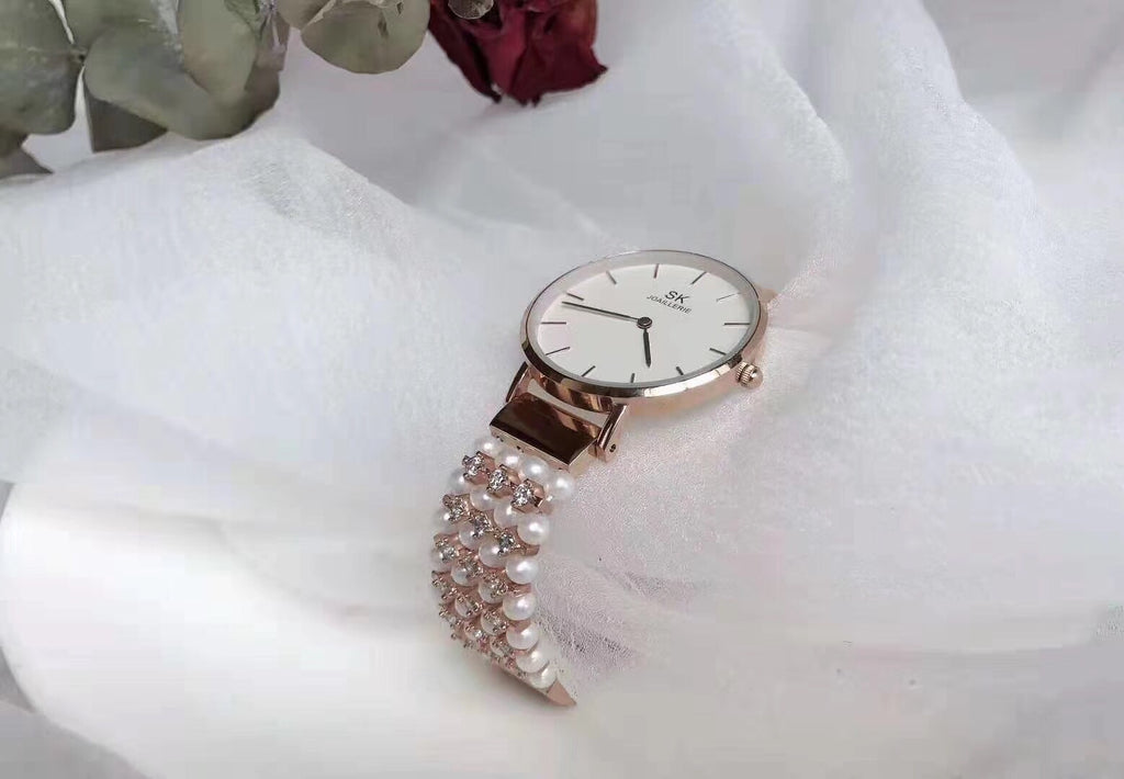 SK pearl stainless steel quartz watch