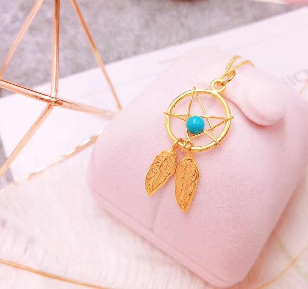 18k gold dream catcher pendant necklace - Xingjewelry