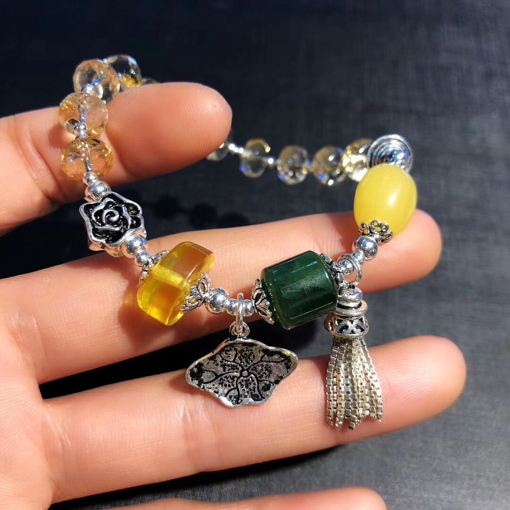 925 sterling silver natural yellow crystal charm bracelet - Xingjewelry