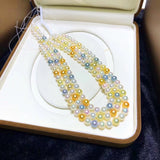 Japanese akoya pearl beaded necklace mixed color candy necklace