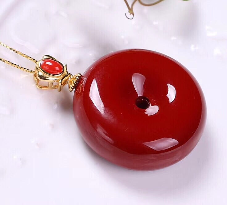 Sterling silver red coral pendant necklace