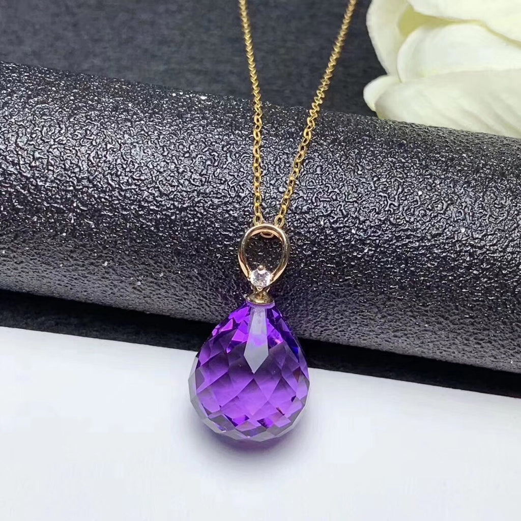18k gold purple crystal pendant necklace - Xingjewelry