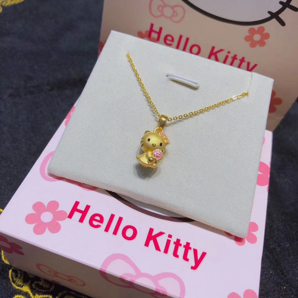 24k Hello kitty cat pendant necklace