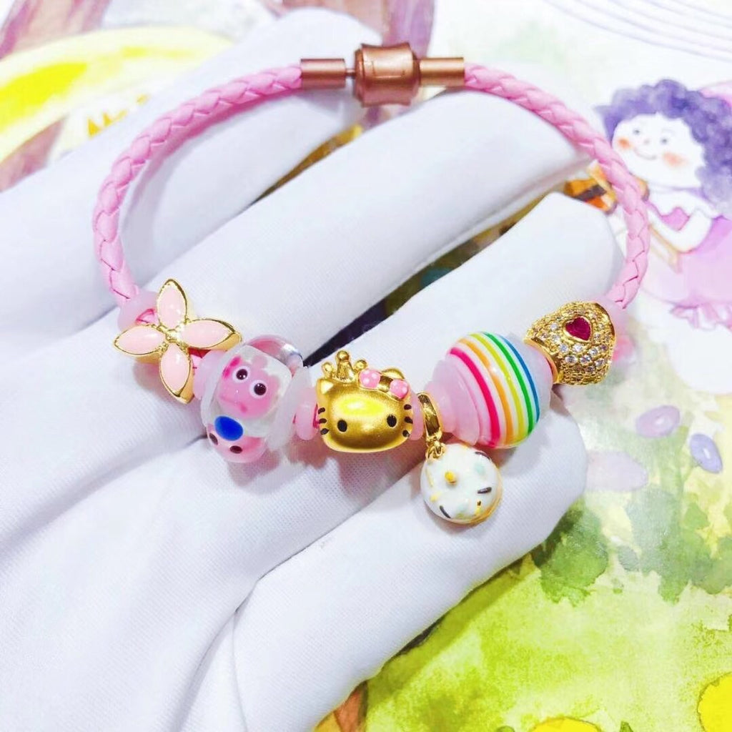 Solid gold hello kitty murano glass charm pink leather bracelet