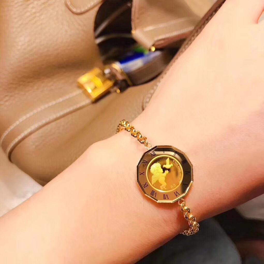 Solid gold angel & Elizabeth bracelet