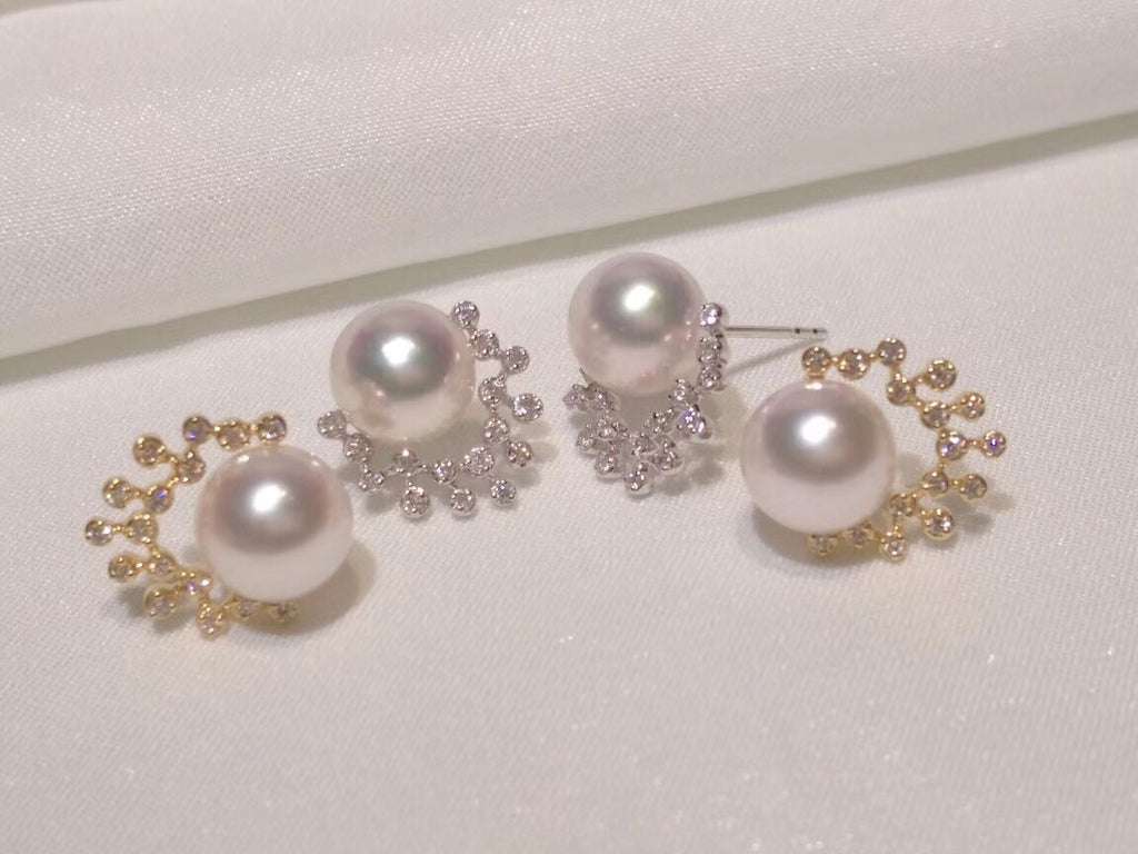 18k gold pearl diamond earring - Xingjewelry