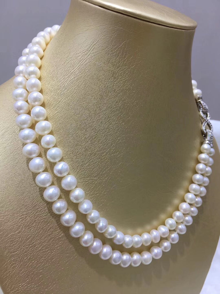 Natural fresh water pearl double strand necklace