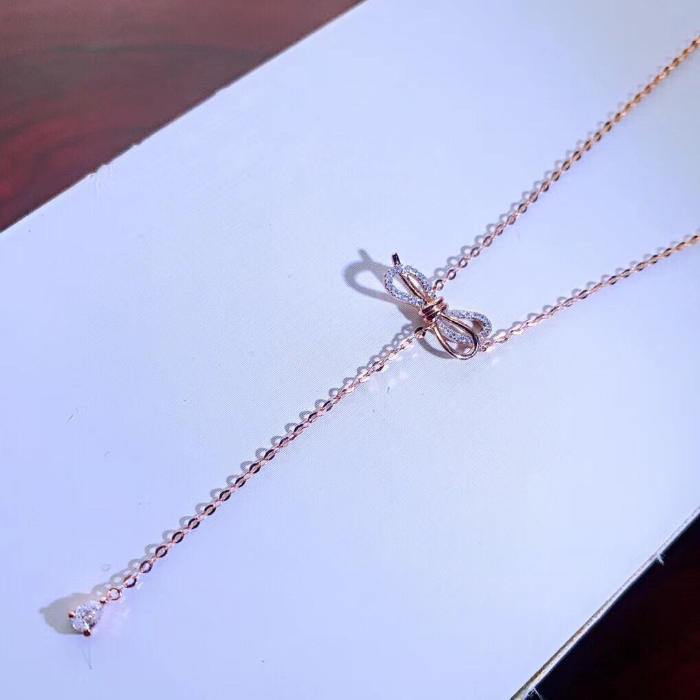 18k platinum bow tie necklace - Xingjewelry