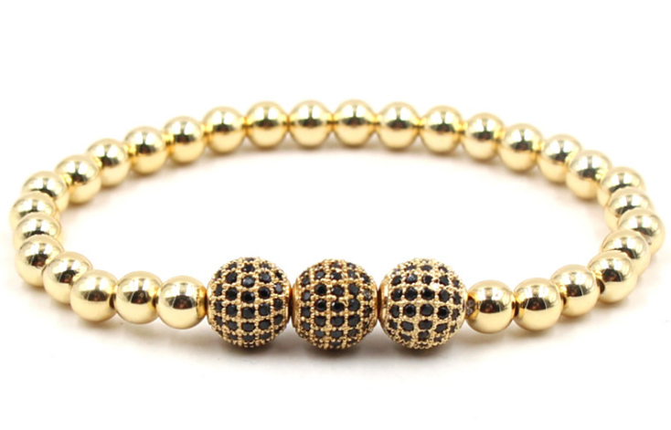 Gold beaded stone elastic bracelet