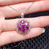 925 sterling silver purple garnet stone pendant necklace