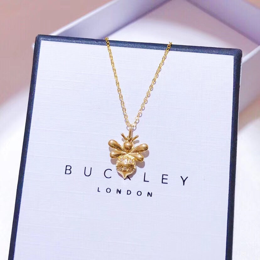 18k gold honey bee flower pendant necklace - Xingjewelry