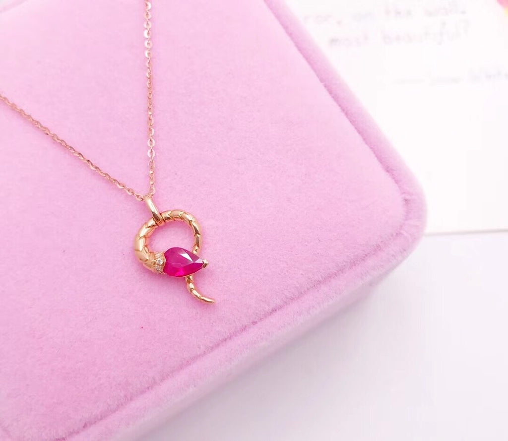 18k gold ruby necklace - Xingjewelry