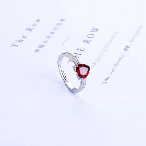 925 sterling silver diamond garnet stone