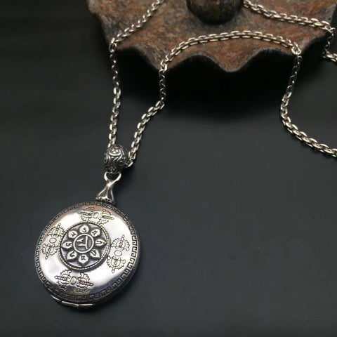 925 sterling silver locket six sutra buddha pendant necklace