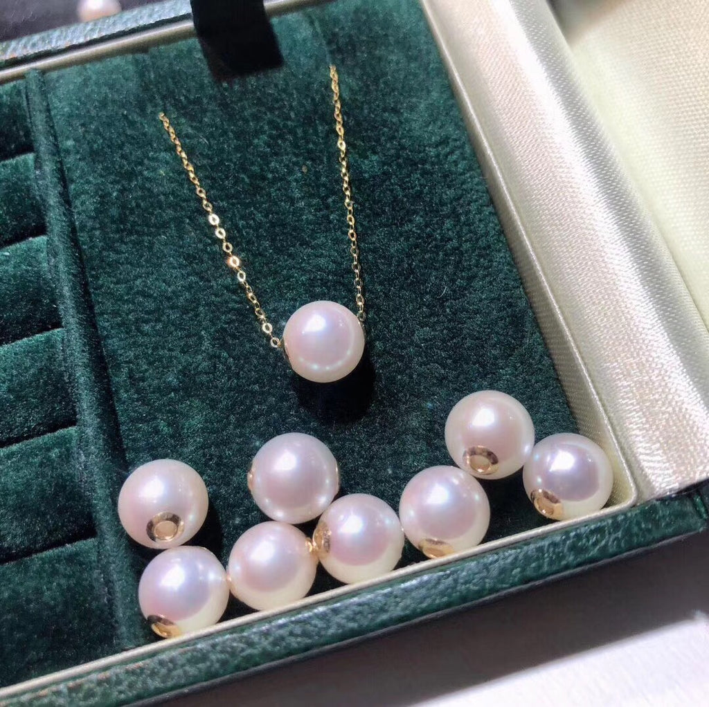 18k gold white pearl bead pendant necklace