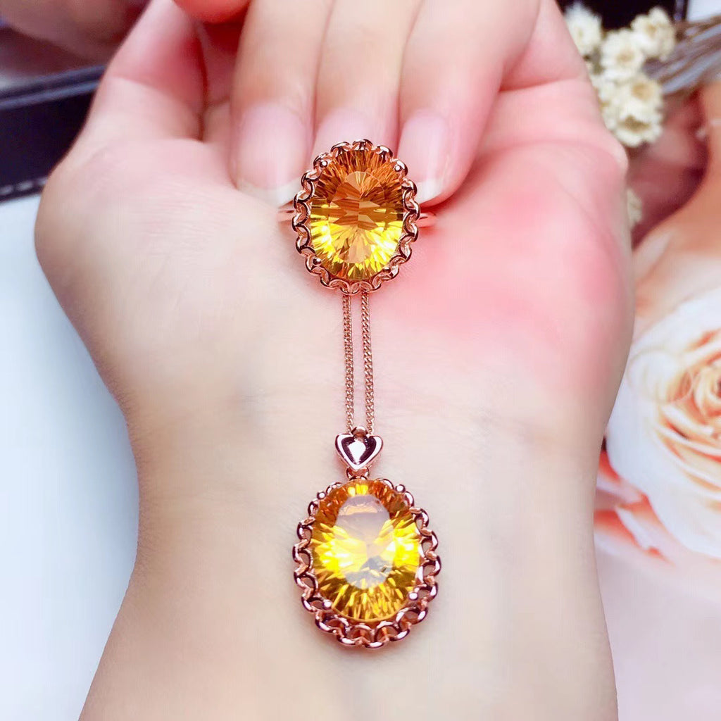 Sterling silver yellow crystal pendant necklace ring