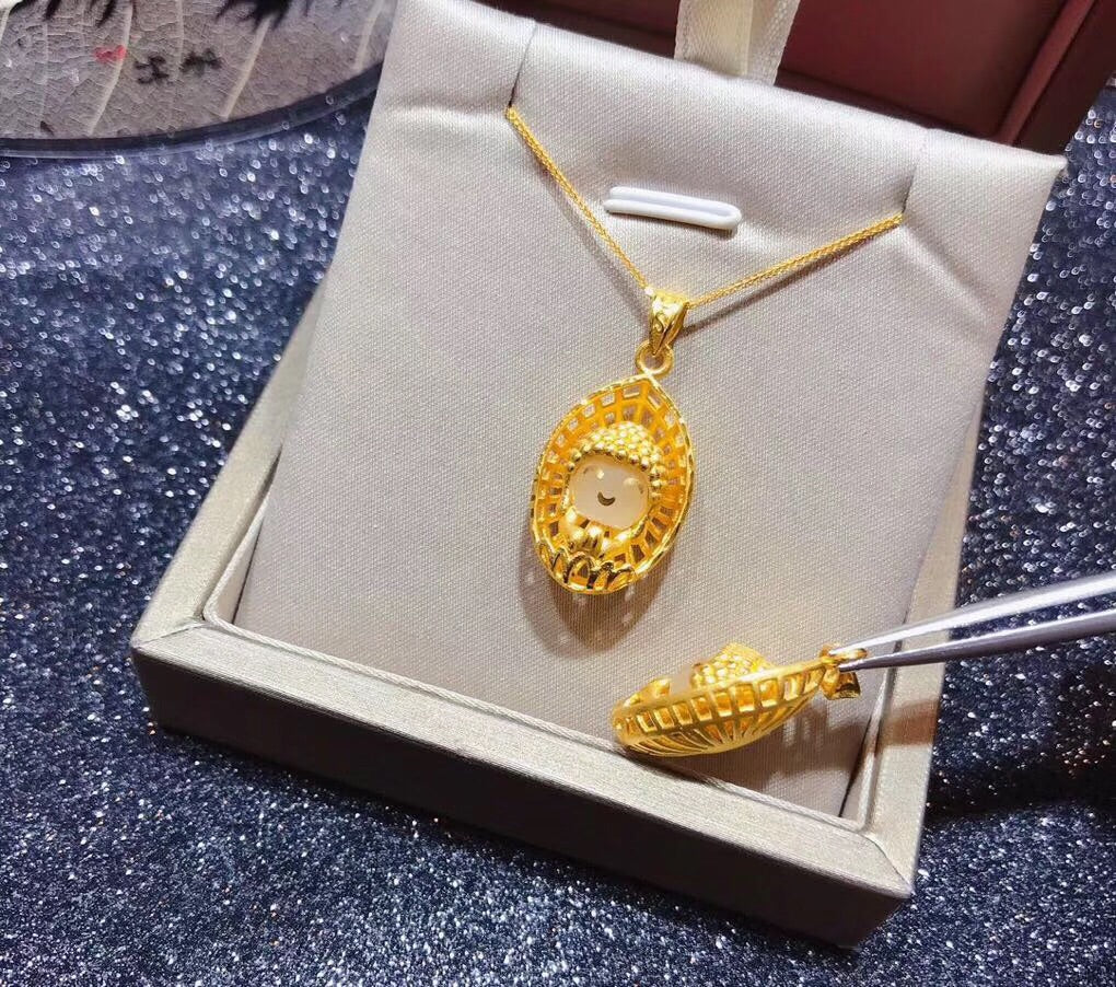 Solid gold cute Buddha gold pendant necklace