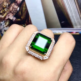 18k White Gold Emerald Ring with turquoise diamond - Xingjewelry