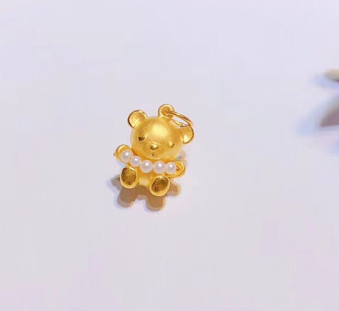 Solid gold pearl bear pendant