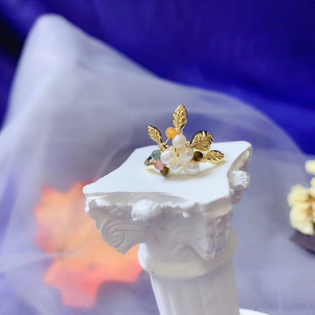 14k gold plate pearl flower ring - Xingjewelry