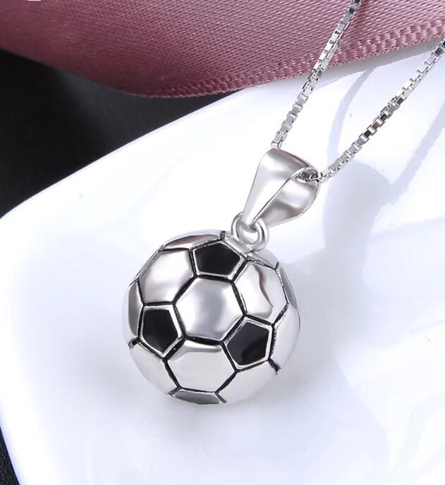 7c7488b3f 925 sterling silver football soccer pendant necklace - Xingjewelry