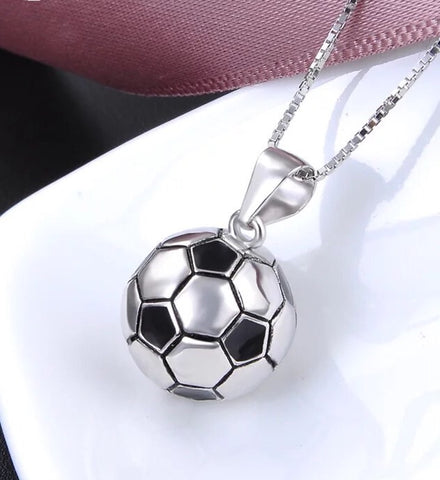 925 sterling silver football soccer pendant necklace