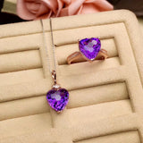 Sterling silver purple crystal heart pendant necklace