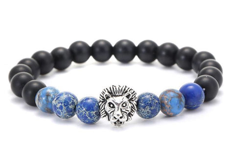Tiger eye stone blue agate bead lion head bracelet - Xingjewelry