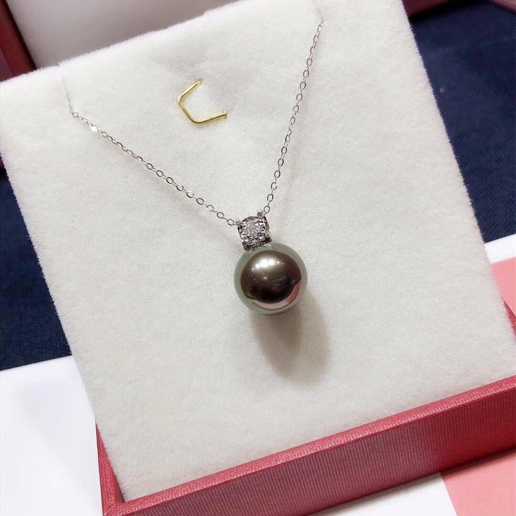 18 k gold Tahitian pearl bead necklace - Xingjewelry