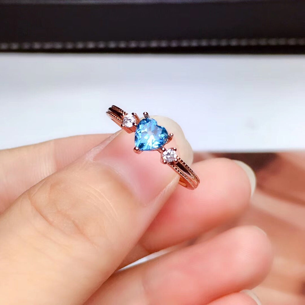 Natural blue topaz stone wedding ring