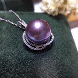 18k platinum purple fresh water purple pearl pendant necklace - Xingjewelry