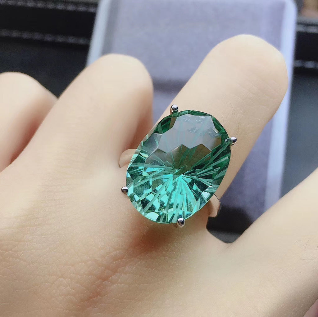 Green crystal ring wedding ring