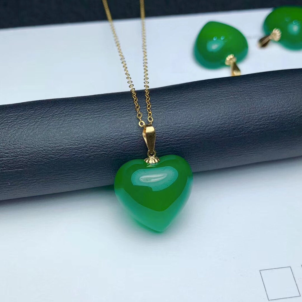 925 sterling silver green jade necklace
