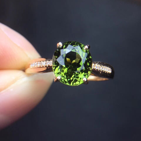 18k gold green tourmaline stone diamond ring - Xingjewelry