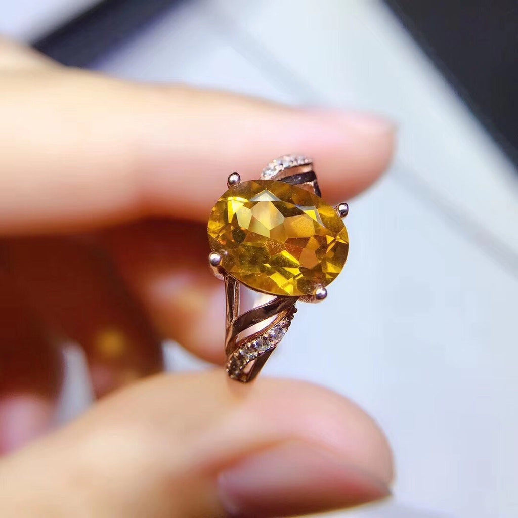 925 sterling silver yellow crystal ring