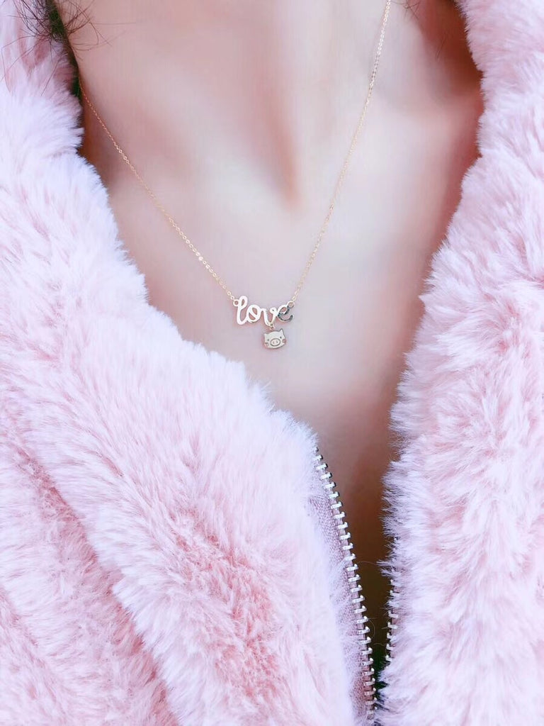 18k gold love pig pendant necklace - Xingjewelry