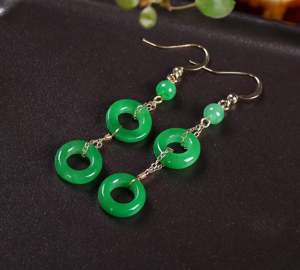 Gold plate green jade ring earring