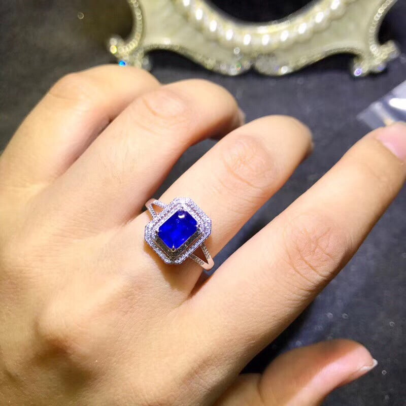 18k white gold sapphire Stone ring - Xingjewelry