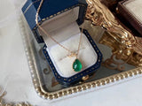 18k gold emerald water drop pendant necklace