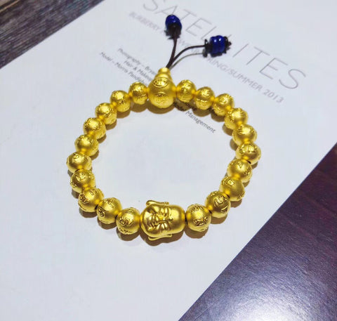Luxury wealth health style gold smile buddha beaded elastic bracelet