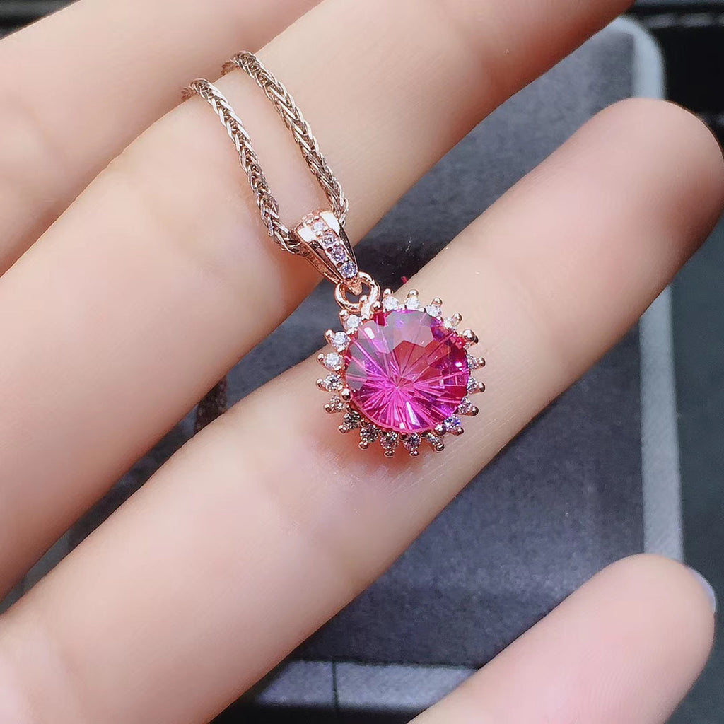 Topaz stone pink necklace