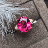 18k gold red tourmaline stone diamond ring - Xingjewelry
